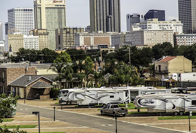 RV Park vor der Skyline New Orleans, Louisiana Foto: Christine Lisse