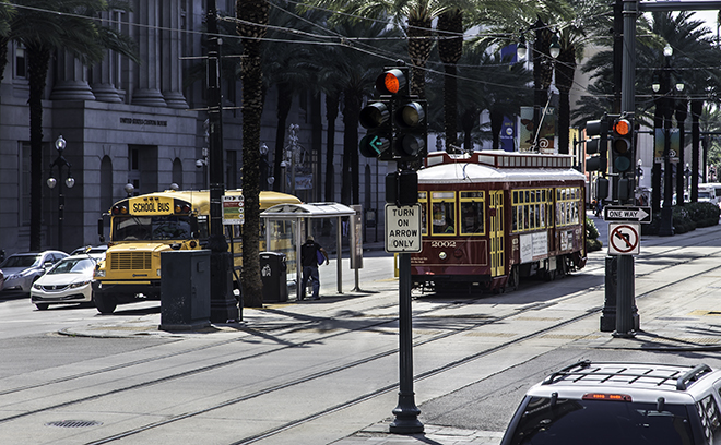 Straßenbahn in der Canal Street, New Orleans, Lousianna  Foto: Christine Lisse