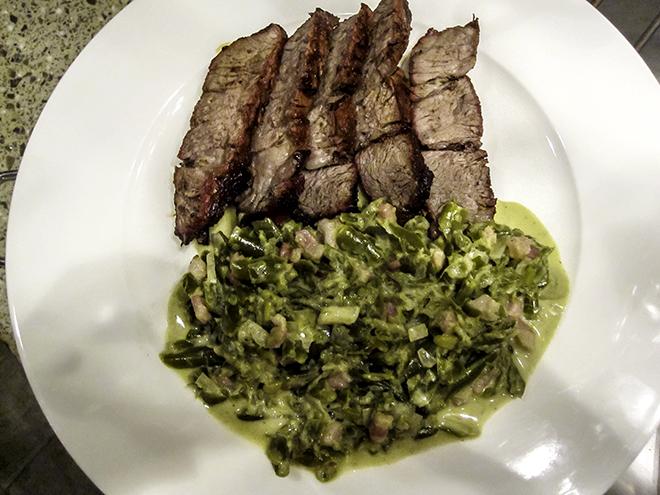 Schnippelbohnengemüse mit Steak Foto: Christine Lisse