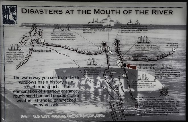 Informationstafel der Coast Guard am Coquille River Leuchtturm in Oregon Foto: Christine Lisse