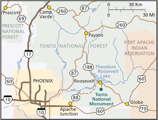 Lage des Tonto National Mounument Quelle: Wikipedia