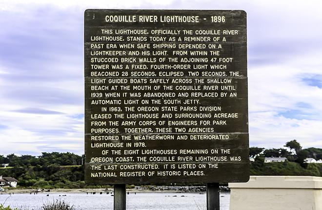 Informationstafel am Coquille River Leuchtturm in Oregon Foto: Christine Lisse