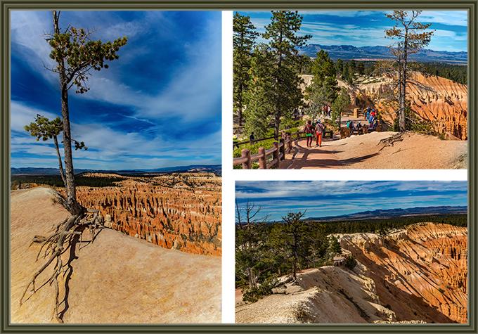 drei verschiednene Bilder vom Inspiration Point aufgenommen.