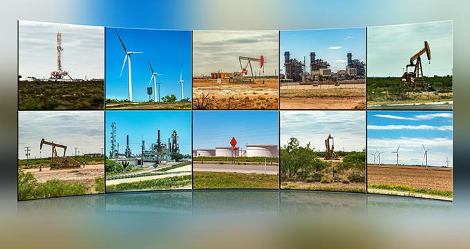 Ölpumpen und Windräder