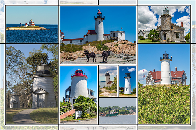 Collage Neuenglands Leuchttürme